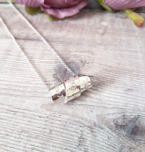 Sterling Silver  Personalised Scroll Necklace