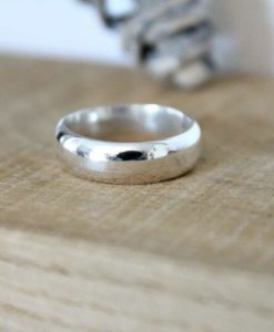 Chunky D Shape Sterling Silver Band