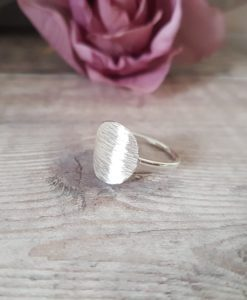 Textured Oval Sterling Silver Ring
