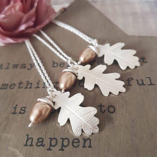 Sterling Silver Oak Leaf Necklace & Swarovski Pearl Acorn
