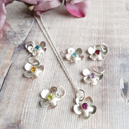 Sterling Silver Gemstone Blossom Necklace