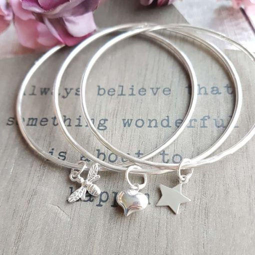 Sterling Silver Skinny Bangle with Charm