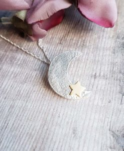 Handmade Sterling Silver & 9ct Solid Gold Moon Necklace