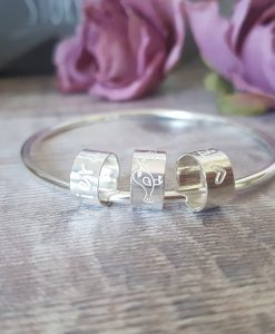 Sterling Silver Personalised Bead Bangle