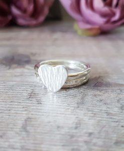 Sterling Silver Heart Bark Texture Set