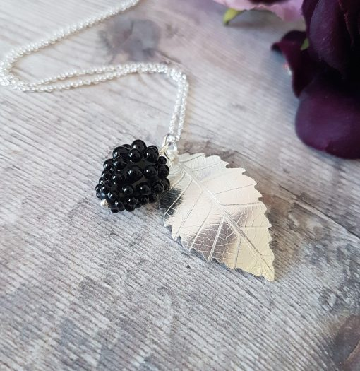 Sterling Silver Blackberry Leaf & Glass Blackberry Necklace