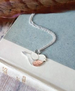 Sterling Silver & Copper Robin Necklace
