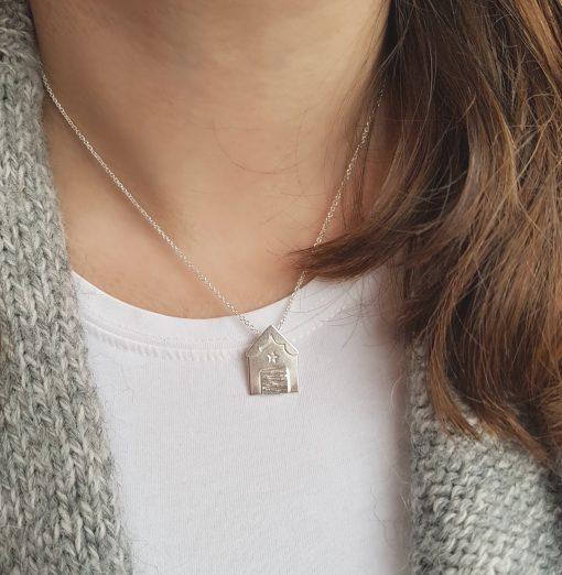 Handmade Sterling Silver Beach Hut Necklace