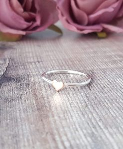 Sterling Silver & 9ct Rose Gold Heart Skinny Ring