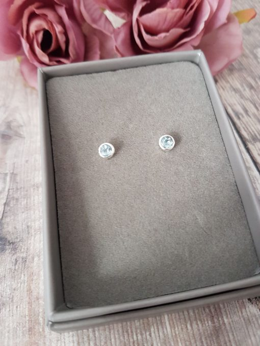 Aquamarine Sterling Silver Studs