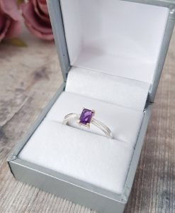 Amethyst Octagonal 9ct Gold & Silver Ring